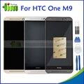 Серый Серебро Золото Для HTC One M9 ЖК-Экран с Сенсорным Экраном Дигитайзер Ассамблеи С Рамкой Кадра Запчасти + Инструменты