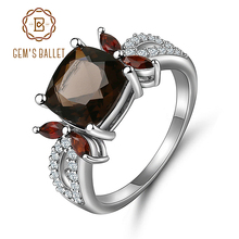 GEMS BALLET Smoky Quartz 925 sterling silver Natural Gemstone Rings For Women Wedding Engagement Luxury Fine Costume Jewelry