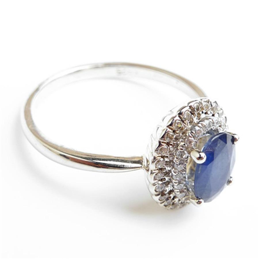 Mode 925 bijoux en argent Sterling bagues pour femmes taille 6.75 véritable naturel bleu gemmes perle de fiançailles bague de mariage - 3