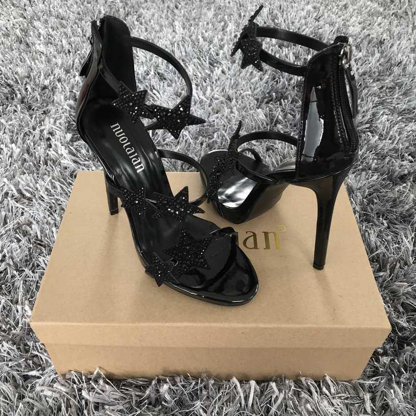 2018 סנדלי נשים בוהן פתוח נעלי נשים מסיבת קיץ סנדלי עקבים גבוהים רצועת קרסול נעליים לנכש Sandalias אישה נעלי נשות