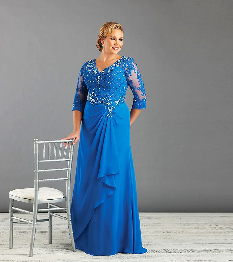 Sexy Lace Formal Long Plus Size Evening Dresses With Half Sleeves