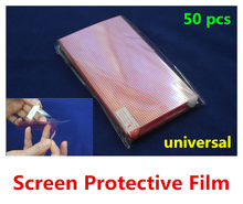 50pcs Universal Clear Screen Protector 3 Layer Composite Protective Film Grid for Mobile Phone GPS MP4 Tablet PC(China)