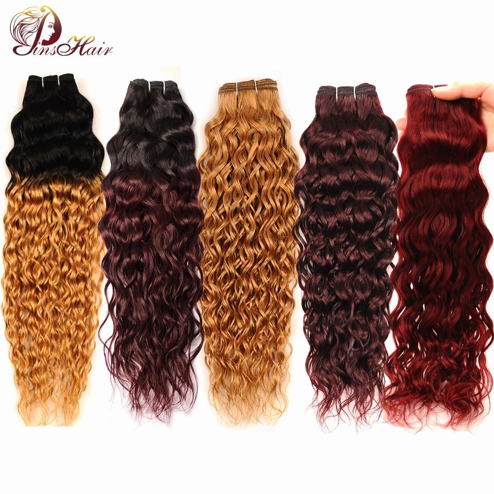 Peruvian Hair Blonde Water Wave Hair Jet Black Human Hair Bundles Deals Red 99J 1Pc Pinshair Non Remy Hair No Tanle No Shedding-in Hair Weaves from Hair Extensions & Wigs    1