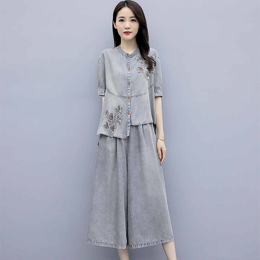 Womens Denim Suits Plus Size Coat Top and Pant Co ord Set Outfit 2019 Summer Emboridery 2 Piece Set Jeans Female Gary Clothing in Women 39 s Sets from Women 39 s Clothing
