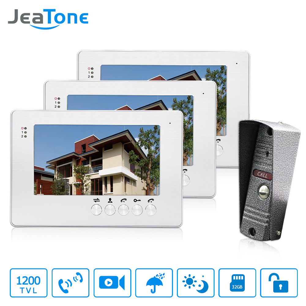 JeaTone 7 Wired Video Door Phone Intercom System One 1200TVL Outdoor Camera Night Vision with 3 Monitor Unlocking Home system jeatone 10 hd wired video doorphone intercom kit 3 silver monitor doorbell with 2 ir night vision 2 8mm lens outdoor cameras
