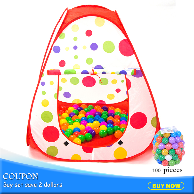 Portable Children Play Toy Tents Polka Dots Game House Folding Outdoor Tent Toys Pop-Up With 100pcs Ocean Balls Pit Pool 985-Q38