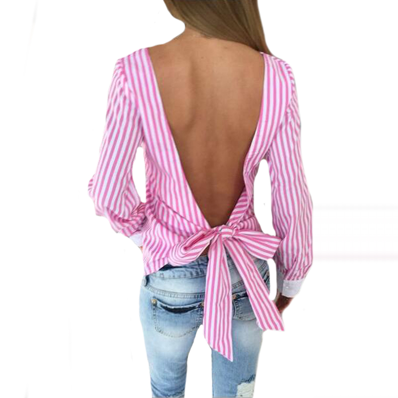 Novelty Striped Blouses Women Sexy Bowknot Backless Shirts Long Sleeve Blouse Club Party Women Bandage Tops Plus Size M0132