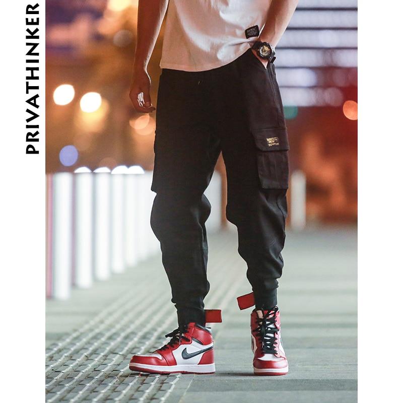 Privathinker Cargo Pants Men 2019 Mens Streetwear Joogers Pants Black Sweatpant Male Hiphop Autumn Pockets Trousers Overalls
