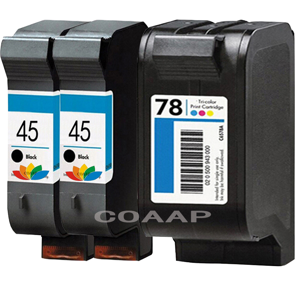 3pk Refillable hp 45 78 ink cartridges for HP45 hp78 Deskjet 1180C 1280 930 930CM 932C