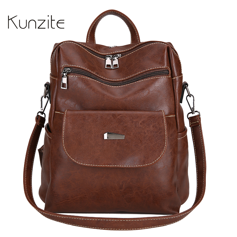 Backpack Bag for Women 2018 Quality PU Leather School Book B