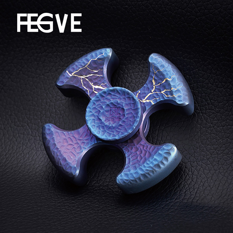 FEGVE Titanium Alloy Grilled Blue Fidget Spinner Hand Spinner Metal Four Leaf Meteorite Pattern EDC 688 Bearings Toys FG36 fidget hand spinner led lights aluminum alloy blue