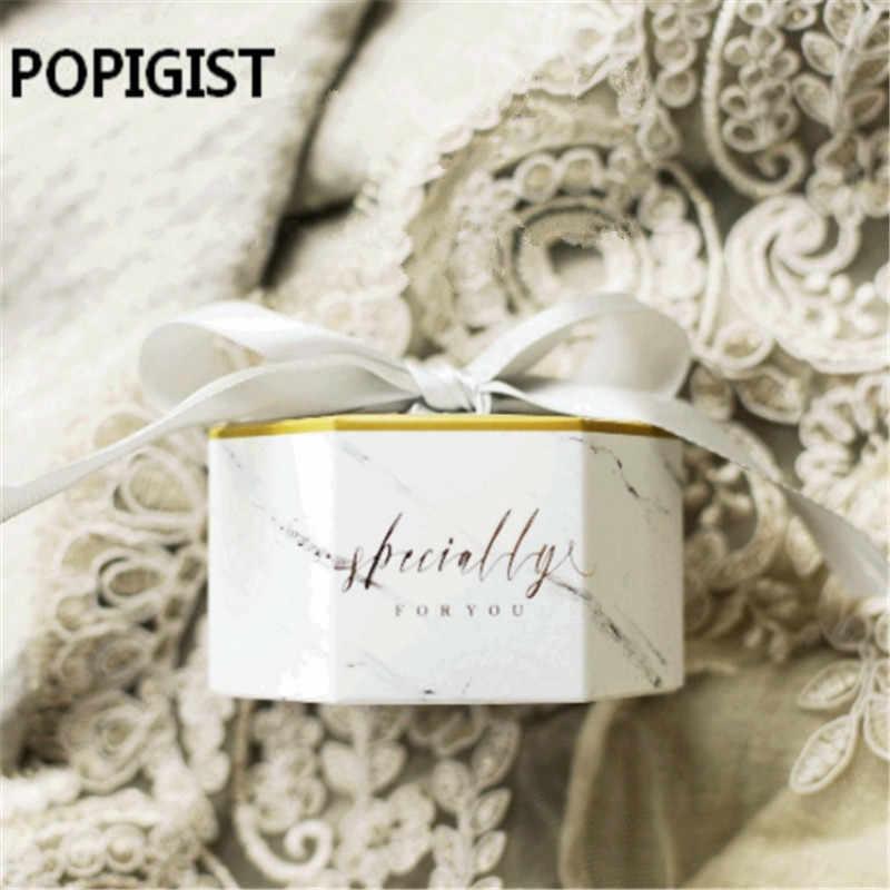 Креативная Свадебная коробка для конфет с серыми лентами бумажные пакеты для сувениров мраморный Печатный контейнер хололат сувенир 30