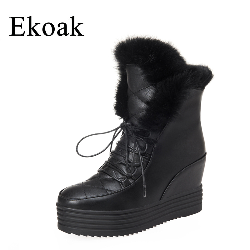 Ekoak New 2017 Fashion Women Snow Boots Winter Ankle Boots Lace-Up Wedges Heels Warm Martin Boots Platform Shoes Woman