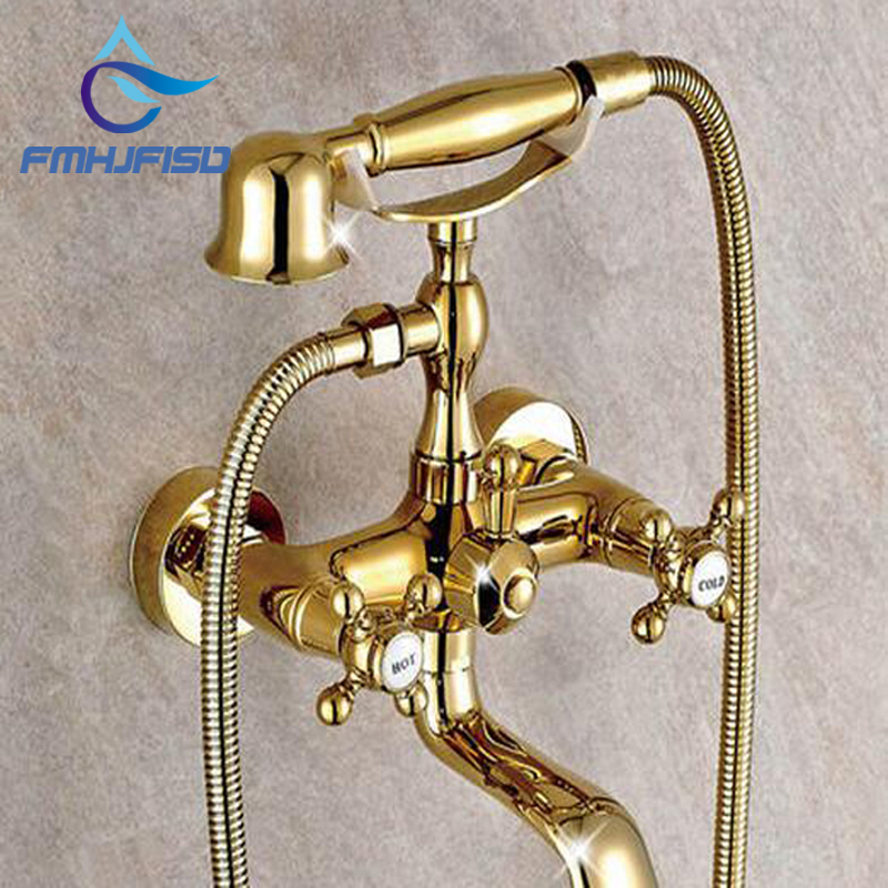 Wholesale And Retail Golden Brass Wall Mounted Bathroom Tub Faucet W/ Hand Shower Sprayer Dual Cross Handles Mixer Tap newly solid brass 4pcs bathroom tub faucet set chrome finish mixer tap shower tap w brass hand shower sprayer deck mounted