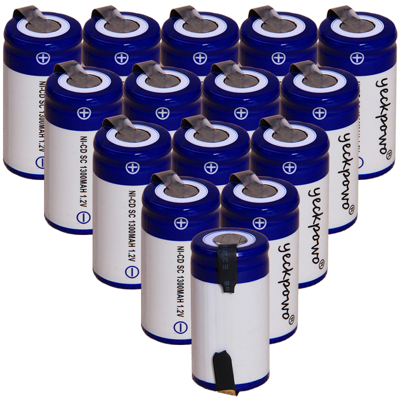 Yeckpowo 15 Pieces SC Battery 1,2v Batteries Nicd Rechargeable For Power Tools 1300mAh For Drill Screwdriver  Real Capacity