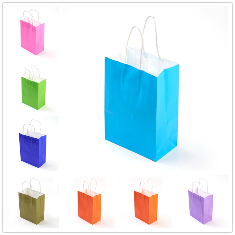 Pandahall 10 Pcs Rectangle Kraft Paper Pouches Gift Shopping Bags With Nylon Thread Handle, 22.5 Cm Long F80