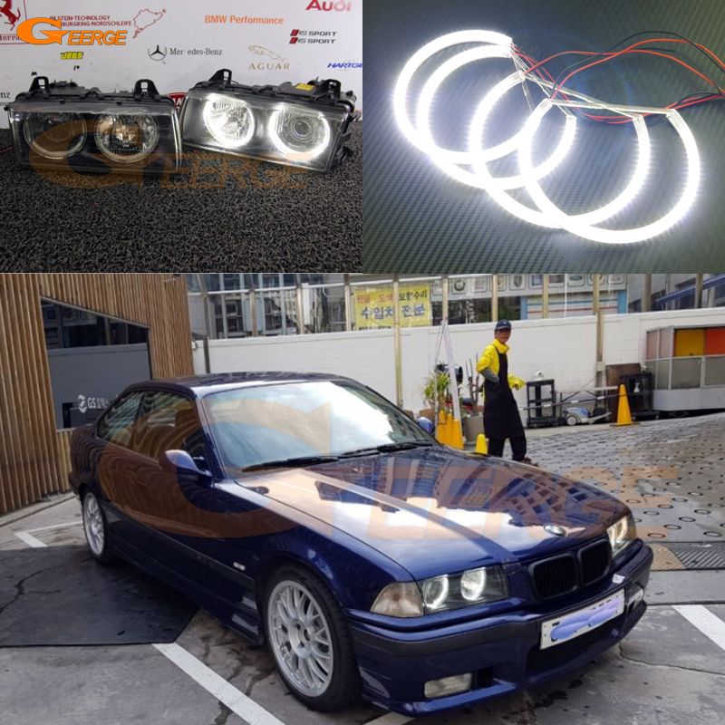 For BMW E36 318I 323I 325I 328I 1992-1998 Euro headlight Excellent angel eyes Ultra bright SMD led Angel Eyes Halo Ring kit 2pcs purple blue red green led demon eyes for bixenon projector lens hella5 q5 2 5inch and 3 0inch headlight angel devil demon