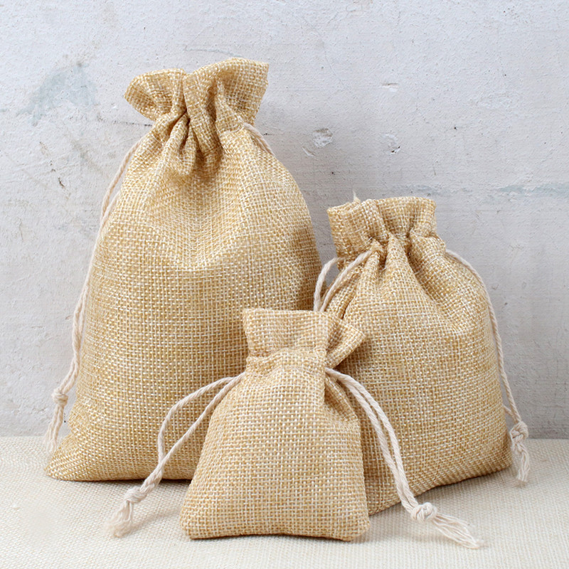 10pcs Cotton Linen Hemp Bags Newest Arrived Custom Logo 7x9cm 10x14cm 13x18cm 15x20cm Nature Protection Candy Package Hot Design