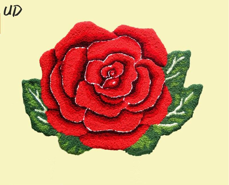Livraison gratuite 80*60 CM tapis fait main tapis Rose tapis fleur tapetes alfombras, paillasson tapis d'entrée pour chambre/sol