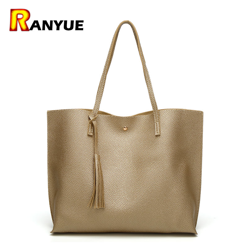 Luxury Brand Tassel Women Shoulder Bag Soft PU Leather Handbags Top-Handle Bags Tote Handbag Designer Bolsas Feminina Bolsos Big 2017 new women shoulder bags solid pu leather handbags ladies brand designer bucket handbag purse bolsas feminina casual totes