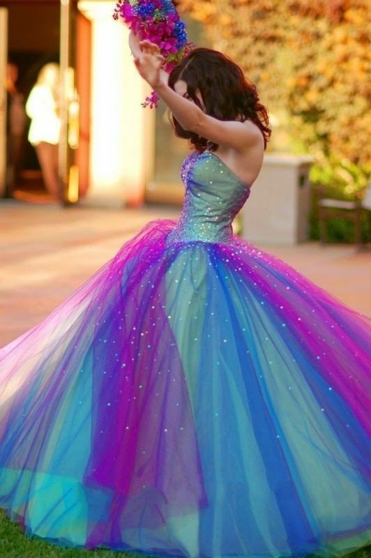 Sparking Beaded Colorful Wedding Dresses Ball Gown Rainbow Bridal Gowns Custom
