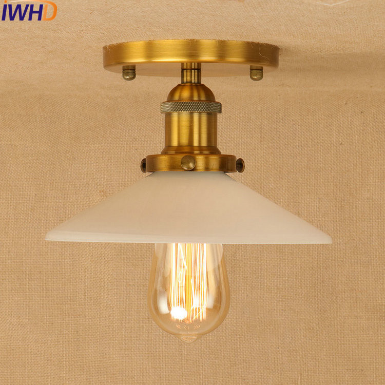 Vintage Industrial LED Ceiling Lights Glass Shade Retro Loft Ceiling Lamp Round Lampshade Fixtures Home Lighting Ambilight Light copper retro vintage led ceiling lights