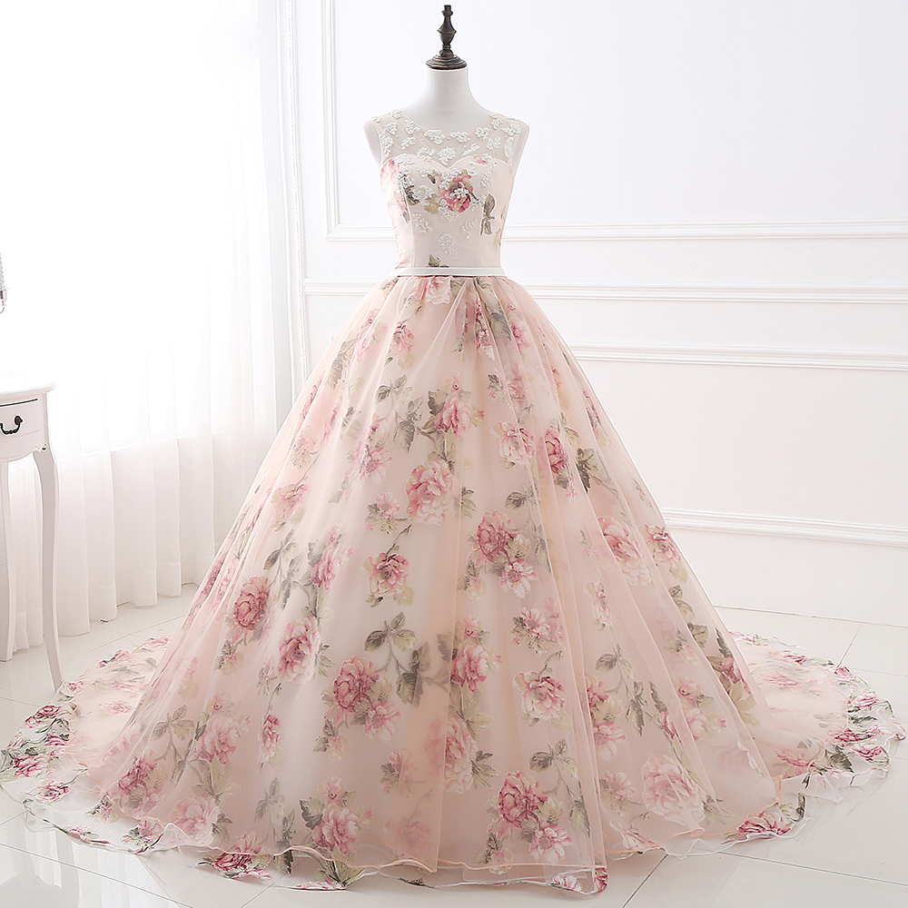 2019 Pink Prom Dresses Ball Gown Sleeveless Scoop Neckline Party Gown Floral Printed Lace Appliqued Tulle Vestido Prom Gown in Prom Dresses from Weddings Events