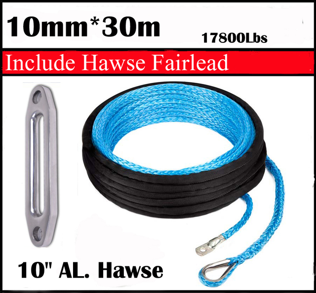 "New Strong 100% UHMWPE Synthetic Winch Cable/Rope 10MM*30Meter w/t+10"" Al. Hawse for 4WD/ATV/UTV/SUV Winch Use////free shipping"