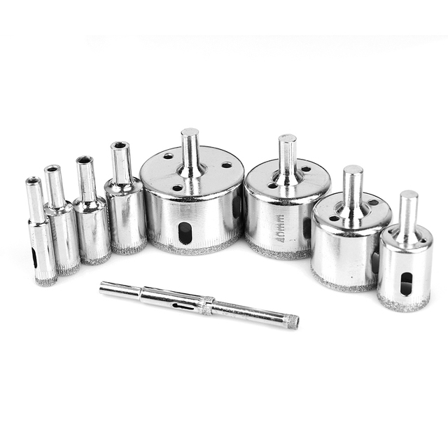 10PCS/set 6-50mm Diamond Coated Core Hole Saw Drill Bits Tool Cutter For Tiles Marble Glass Granite Drilling