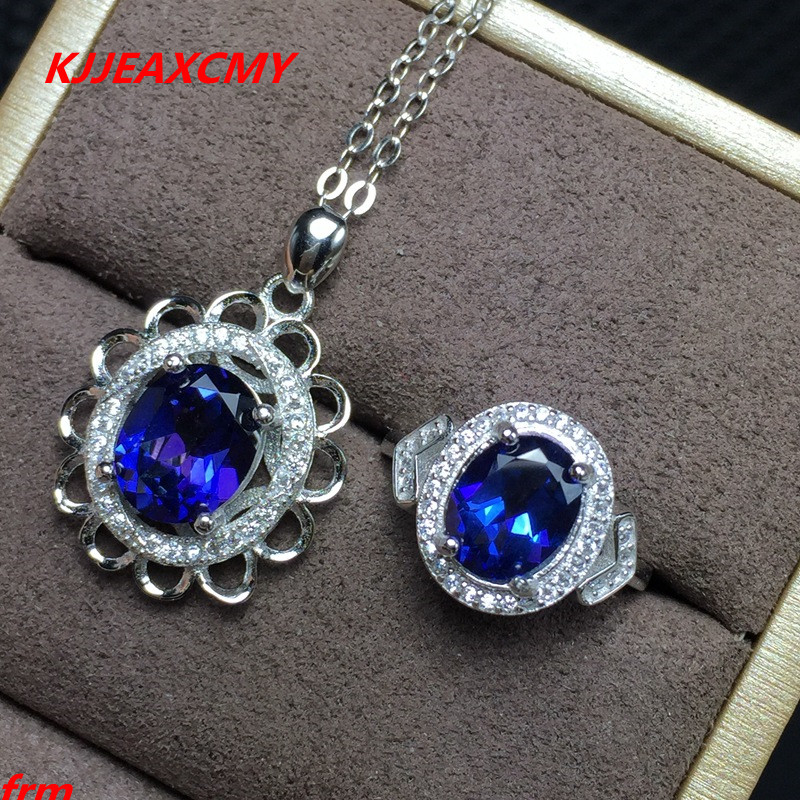 KJJEAXCMY Fine jewelry, 925 Sterling Silver Inlay Large Natural Crystal Topaz Ladies Ring Pendant Set kjjeaxcmy fine jewelry 925 sterling silver ring pendant garnet red corundum jewelry ladies suits