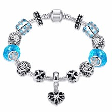 2016 Trendy Bracelet Korea fashion Elegant Blue glass beads Silver Plated Bracelets&Bangles Jewelry Antique for Gift Pulseras