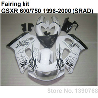 Kit de carrocería para Suzuki carenados GSXR750 96 97 98 99 00 blanco negro kit de carenado GSXR600 1996 1997 1998 1999 2000 LN01