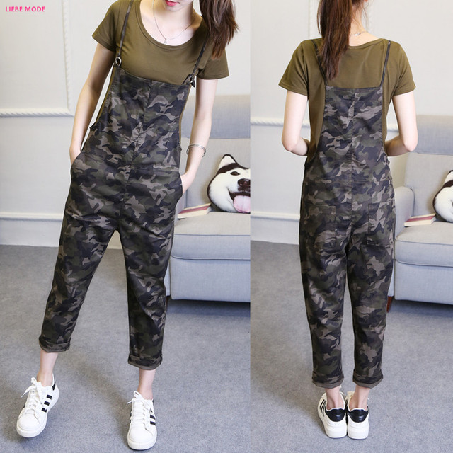 8d6e2b7f1ce New Style Womens Casual Loose Camouflage Jumpsuits Ankle Korean Women Harem  Suspender Pants Camo Print Overaolls Work Wear