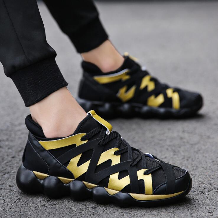 Hand woven Mens Shoes Trendly 2019 Autumn Shoes For Men Fashion Sneakers Male Breathable Casual Shoes Men Red Bottom Gold Shoes