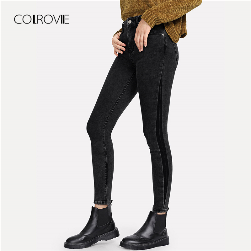 COLROVIE Grey Solid Button Casual Denim Jeans Women 2018 Autumn Female Pocket Mid Waist Skinny Woman Jeans Basic Stretchy Pants