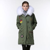 Army Green Germany Flag Beading Thicken Jacket Women White cool Long Winter Jacket