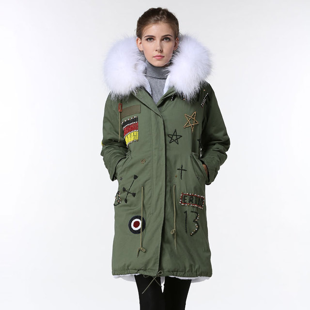 Army Green Germany Flag Beading Thicken Jacket Women White Cool Long