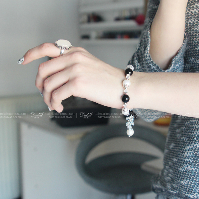 Real Natural Freshwater Round Stone Bohemian Pearl Bracelet