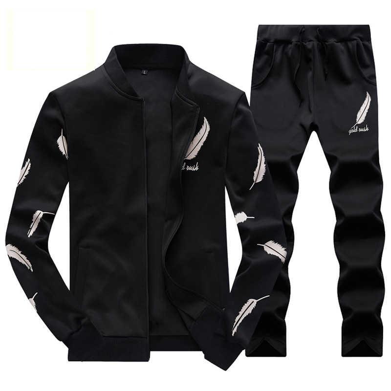 トラックスーツ男性暖かい Sportsuit セット男性カーディガン翼プリントジッパートラックスーツ 4XL 男性赤イエロー 2019 新到着