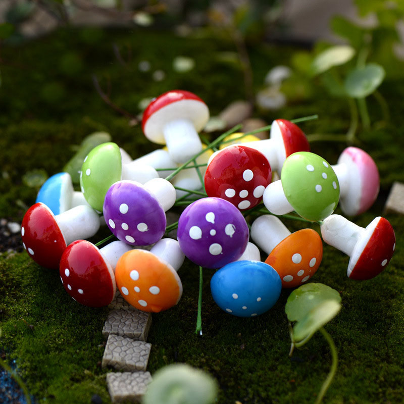 20pcs Red/ Multi-colored Foam Mushrooms Miniatures For Fairy Garden DIY Bottle Landscape Decorative Mushroom Figure Decorative
