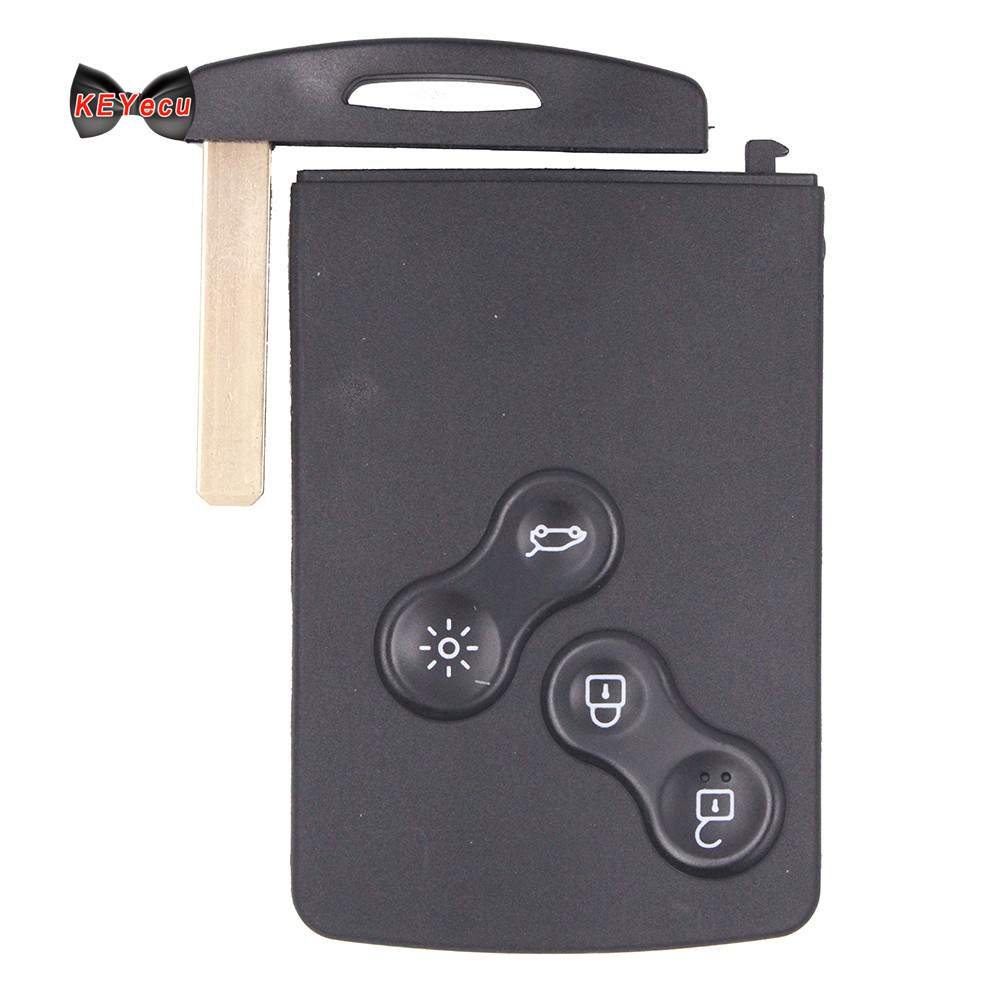 Keyecu 4 Button 433Mhz PCF7941 Remote Key Fob for Renault Megane Scenic 2009 2010 2011 2012 2013 2014 free shipping replacement new uncut remote key fob 4 button 433mhz pcf7952 for renault megane 2009 2014