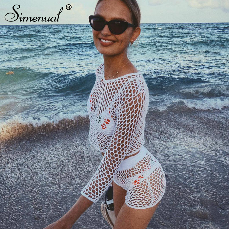 Simenual Fishnet Crochet Handmade Beachwear Two Piece Set -5935