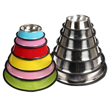 Colored stainless steel bowl pet dog cat skid dogs and cats eat a of rice
