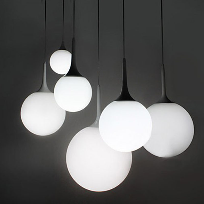 Modern Milk Globe Glass Shade Pendant Lights For Dining Room Bar Restaurant Decorative Kugellampe Hanging Pendant Lamp Fixtures modern pendant lights for restaurant glass bottle pendant lamp 1 3 5head bar dining room fashion plants hanging lamp