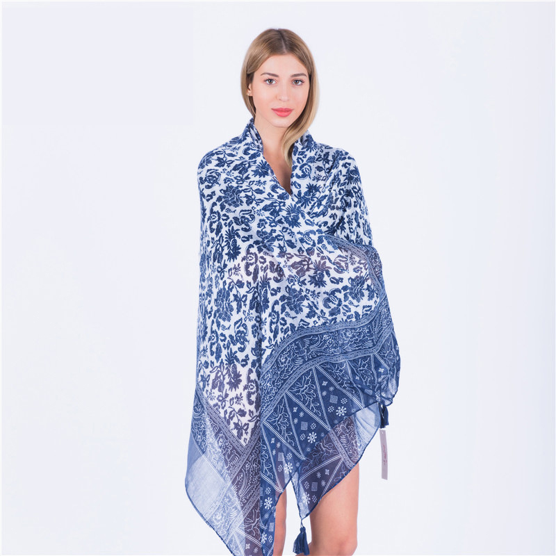 Fashion Women Scarf Summer Blue and White Porcelain Print cotton Wraps Vaction Bufandas Female Pashmina beach Shawls bandana