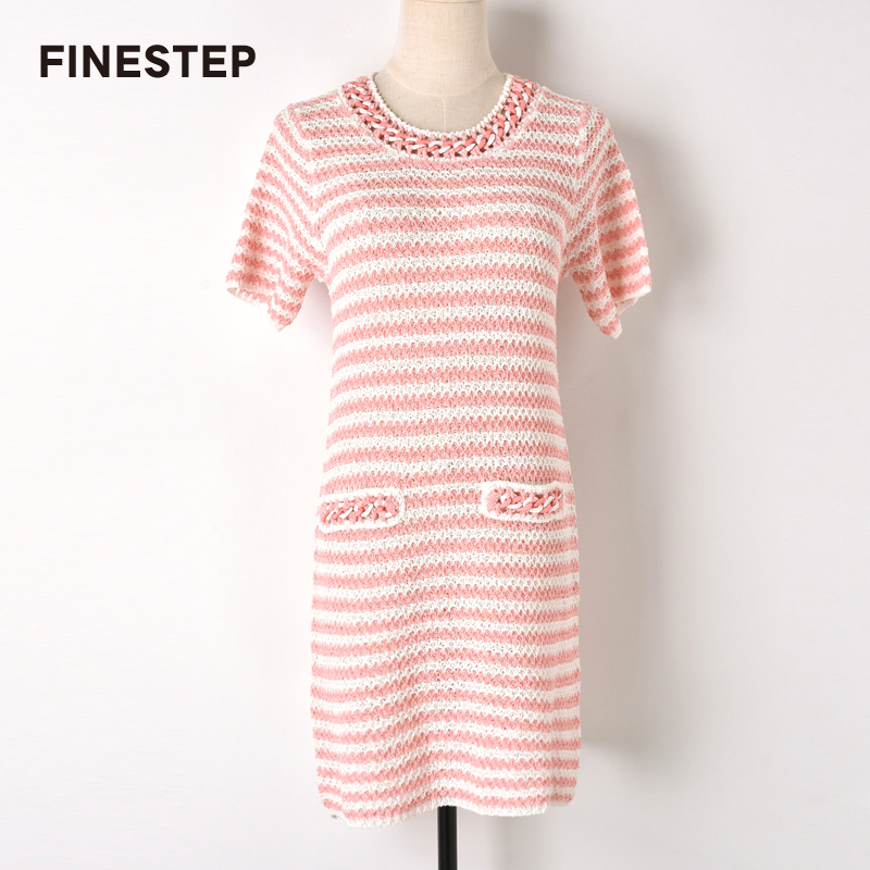Stripe Sweater Dress for Women Pink Stripe Dress Knitted Women Dress Spring Autumn Black and White Strip Dress Women