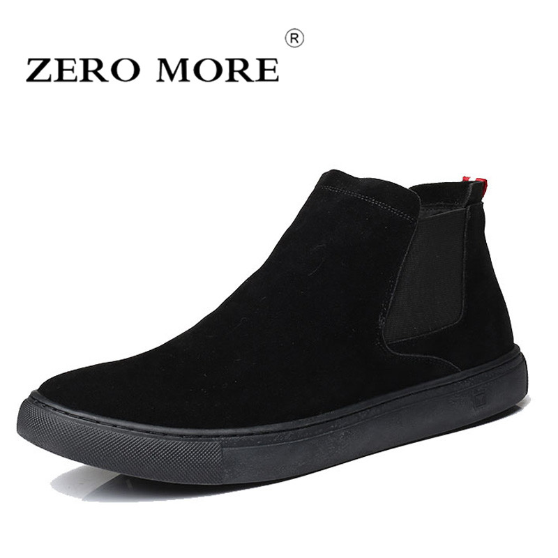 ZERO MORE Mens Boots Slip On Flat Sole Shoes Men British Chelsea Autumn Ankle Boots Men Sewing Frosted Round Toe Men Boots      ZERO MORE Mens Boots Slip On Flat Sole Shoes Men British Chelsea Autumn Ankle Boots Men Sewing Frosted Round Toe Men Boots