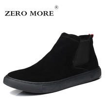 ZERO MORE Mens Boots Slip On Flat Sole Shoes Men British Chelsea Autumn Ankle Sewing Frosted Round Toe