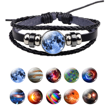 Solar System Earth Jupiter Sun Fashion Men Women Punk Black Woven Leather Button Bracelet Bangle Nebula Planet Charm Jewelry