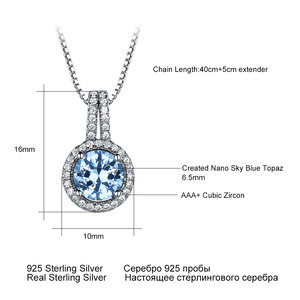 Image 5 - Umchoブルートパーズ宝石用原石のペンダントネックレス女性のための固体 925 スターリングシルバーペンダントブランドファイン結婚式の宝石類のギフト彼女